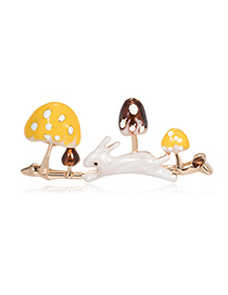 Fashion Mushroom Rabbit Alloy Big Mushroom Bunny Brooch