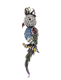 Fashion Parrot Alloy Diamond Parrot Brooch