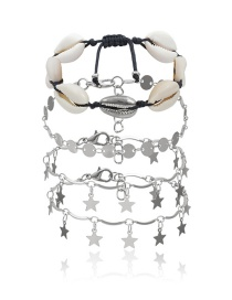 Fashion White K Geometric Metal Sequin Shell Five-pointed Star Anklet