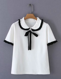 Fashion White Lapel Knotted Top