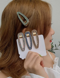 Fashion Light Green Alloy Diamond Hair Clip