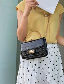 Fashion Black Stone Pattern Crossbody Shoulder Chain Bag