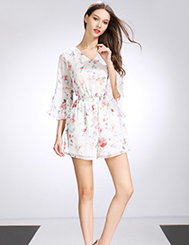 Fashion White Printed Trumpet Sleeve Short Jumpsuit
