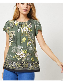 Fashion Green Print Pleated Printed T-shirt