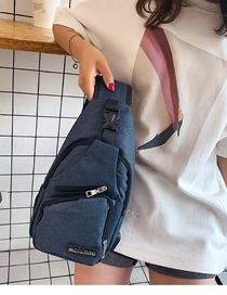 Fashion Blue Usb Charging Shoulder Shoulder Chest Bag