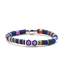 Fashion Color Rice Beads Cloth Flower Rope Braided Bracelet