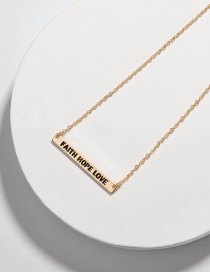 Fashion Faith Hope Love Alloy Letter Smudged Rectangular Necklace