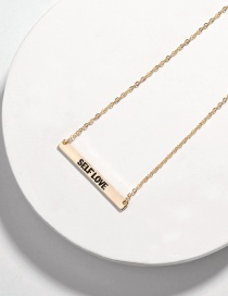 Fashion Self Love Alloy Letter Smudged Rectangular Necklace