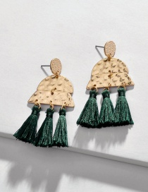 Fashion Green Alloy Multilayer Geometric Semicircular Tassel Earrings