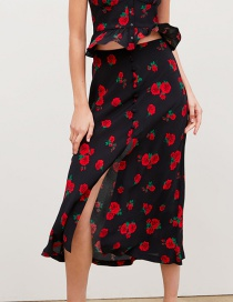 Fashion Black Rose Print Skirt