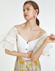 Fashion White Laminated Sleeve Crop Top
