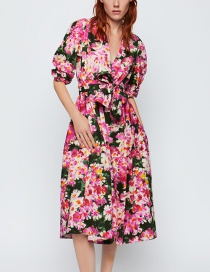 Fashion Color Belted Printed Dress