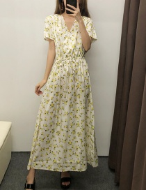 Fashion Yellow Drawstring Waist Floral Dress