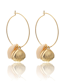 Fashion Gold Shell Pearl Alloy Conch Earrings