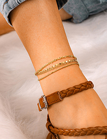 Fashion Gold Alloy Chain Bead Chain Multi-layer 4 Layer Anklet
