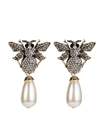 Fashion White Acrylic Diamond Insect Pearl Bee Earrings