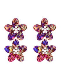 Fashion Color Acetate Plate Flower And Pearl Earrings
