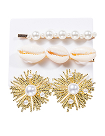 Fashion Gold Alloy Shell Pearl Fireworks Hairpin Earrings Set