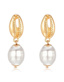 Fashion Gold Zinc Alloy Pearl Shell Earrings