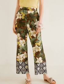 Fashion Color Floral Print Snake-like Stitching Elastic Waist Trousers
