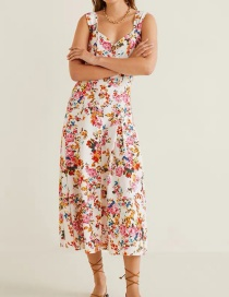 Fashion Color Floral Print Buttoned Pleated Skirt V-neck Dress