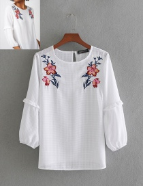 Fashion White Small Plaid Embroidered Ruffled Cropped Sleeve Shirt