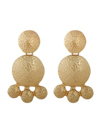 Fashion Gold Bright Gold Face Small Turtle Geometric Round Earrings