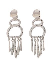 Fashion Silver Gourd-shaped Alloy Fringed Smooth Metal Stud Earrings