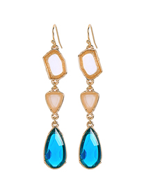 Fashion Blue Alloy Gemstone Crystal Drop Earrings