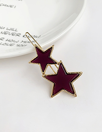 Fashion Purple Alloy Resin Five-pointed Star Hairpin