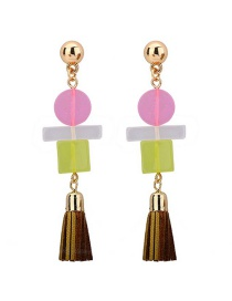 Fashion Color Resin Villain Leather Tassel Earrings