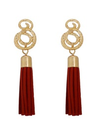 Fashion Red Spiral Leather Tassel Earrings
