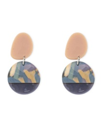 Fashion Color Resin Acrylic Round Stud Earrings
