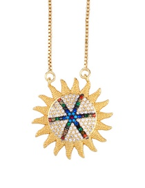 Fashion Golden Sun Micro-inlaid Zircon Sun Necklace