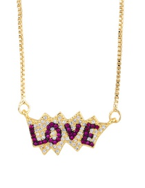 Fashion Rose Red Letter Love Inlaid Zircon Necklace