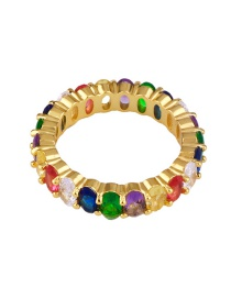 Fashion Gold Micro-inlaid Zircon Wide-faced Oval Ring