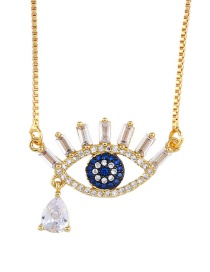 Fashion Golden Eyes Eye Full Of Zircon Necklace