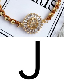 Fashion Golden J Copper Inlaid Zircon Beads Letter Tassel Bracelet