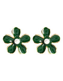 Fashion Green Alloy Pearl Flower Earrings
