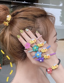 Fashion Yellow Flower Small Bee Soft Pottery Flower Hair Circle
