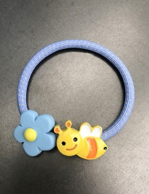 Fashion Blue Flower Small Bee Soft Pottery Flower Hair Circle