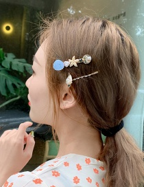 Fashion Blue (pair) Imitation Pearl Starfish Shell Hairpin