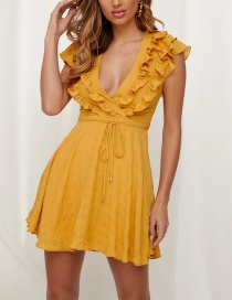 Fashion Yellow V-neck Ruffled Jumpsuit