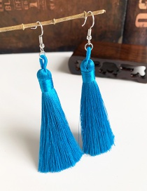 Fashion Blue Alloy Tassel Earrings