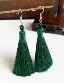 Fashion Dark Green Alloy Tassel Earrings