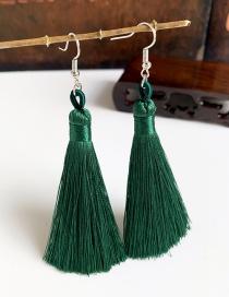 Fashion Dark Green Alloy Tassel Earrings
