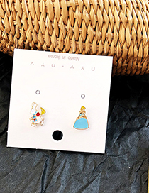 Fashion Blue + White Cartoon Stars Moon Asymmetric Drop Glaze Earrings