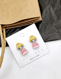 Fashion Princess Pink 925 Silver Pin Cartoon Earrings