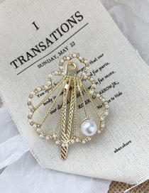 Fashion Scallop-golden Pearl Drill Pearl Metal Shell Hairpin