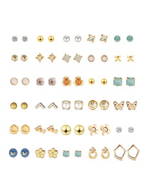 Fashion Color Geometric Alloy Stud Earring Set (30 Pairs)